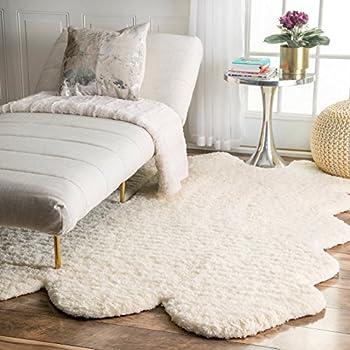 nuLOOM 100-Percent Polyester Faux Sheepskin Matix Shag Area Rug, 4-Feet 9-Inch by 6-Feet, Natural