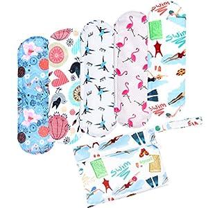 Wegreeco Bamboo Reusable Sanitary Pads (New Pattern) - Cloth Sanitary Pads, Cloth Pads, Reusable Menstrual Pads - 5 Pack Pads, 1 Cloth Mini Wet Bag Bonus