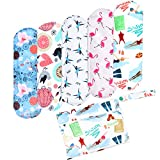 Wegreeco Bamboo Reusable Sanitary Pads (New Pattern)- Cloth Sanitary Pads, Cloth Pads, Reusable Menstrual Pads - 5 Pack Pads, 1 Cloth Mini Wet Bag Bonus ( Small, Dynamic )