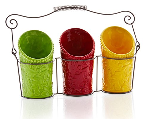 Kitchen Utensil Holder Set (4 Pieces) - 3 Ceramic Crocks & 1 Portable Wire Caddy - Multi-Color