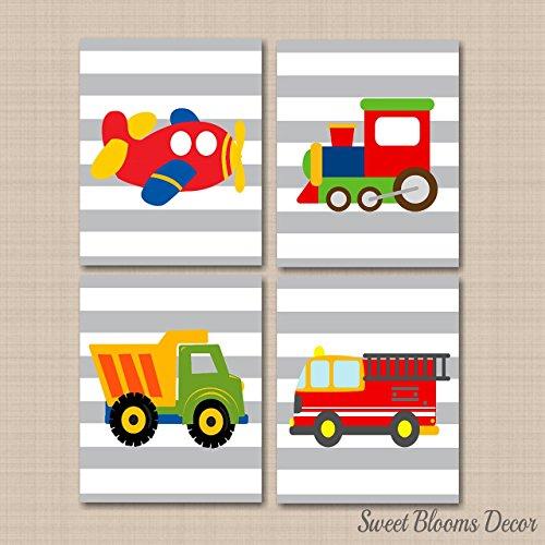 Transportation Décor,Transportation Nursery Wall Art,Trucks Wall Art,Boy Nursery Wall Art,Plane Train Fire Truck Dump Truck Wall Art UNFRAMED Set of 4 PRINTS (NOT CANVAS) C300 ()