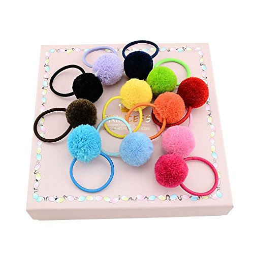 12pcs Assorted Color Fluffy Ball Pom Pom Hair Ties Handmade Hair Accessories Best for Baby Girls (Random Color)