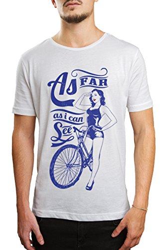 TEEBOX101 Herren T-Shirt, Gestreift Weiß Weiß
