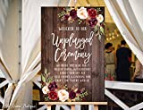 Wood Plaque Unplugged Ceremony Sign Unplugged Wedding Sign Unplugged Sign 18' x 24'