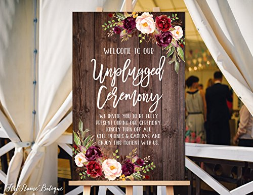 Wood Plaque Unplugged Ceremony Sign Unplugged Wedding Sign Unplugged Sign 18