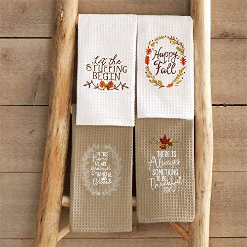 Mud Pie Thanksgiving Embroidered Waffle Kitchen Towel Complete 4-pc Set