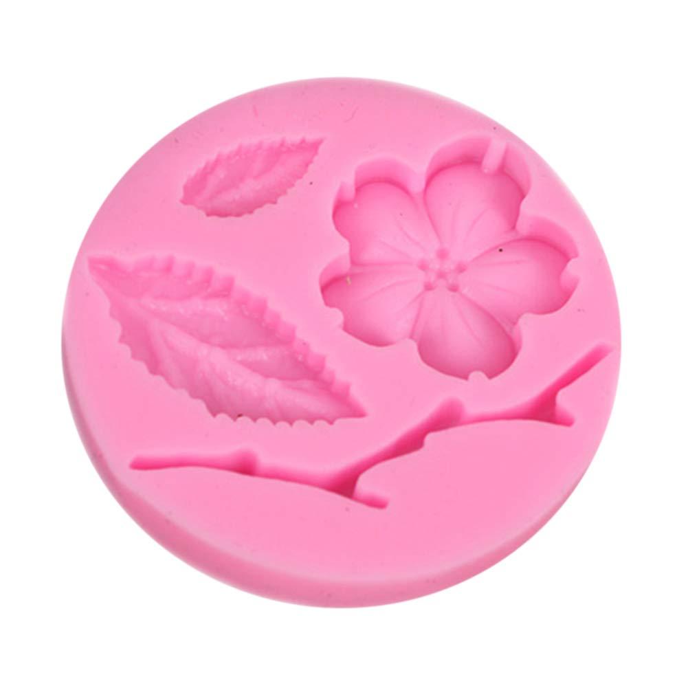 Doitsa 1pcs DIY Moule à Pâtisserie de Cuisine en Silicone Forme de Fleur de Pêche pour Décoration de Gâteaux, Fabrication de Dessert Candy Chocolate Fondant, Rose 4.4×4.5×0.8cm