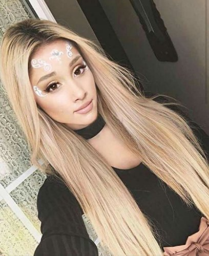 Vedar Beauty Ombre Honey Blonde Lace Front Wigs Brown Rooted Long Silky Straight Synthetic Hair Front Lace Wigs for White Women 2 Tone Fashion Hair Replacement Wig For Women 24 Inch
