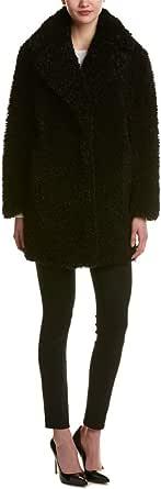 kensie Women's Faux Fur Teddy Notch Collar Coat