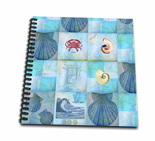 (3dRose db_79384_1 Aqua Beach Seashell Collage Art Drawing Book, 8 by 8-Inch)