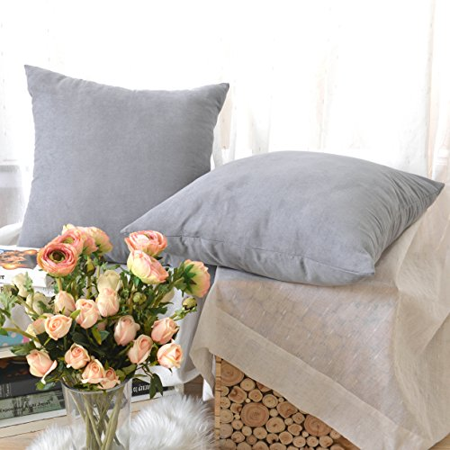 Faux Suede Throw Pillow Sham Cushion Cover With Hidden Zipper for Bed, 24
