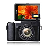 Digital Camera Vlogging Camera Handheld Camcorder Full HD1080p 24.0MP Camcorder Digital Camcorder 3.0 inch Flip Screen Camera with Retractable Flashlight Vlogging Camera for Youtube …