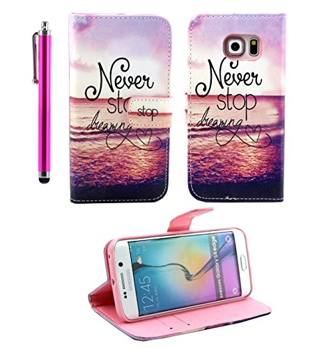 Galaxy S6 Edge Case - TheLovelyBird PU Leather Stand Wallet Case for Samsung Galaxy S6 Edge + Stylus Pen (The Sea)