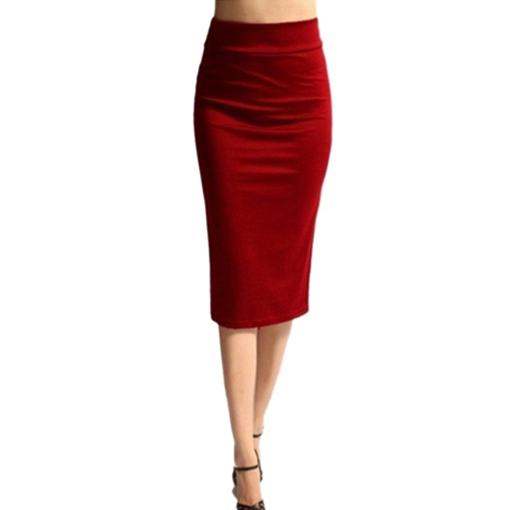 Femmes Solide Taille Haute Maigre Extensible Maigre Jupe Crayon mi-Longueur Crayon
