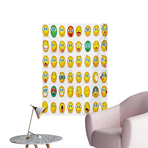 Anzhutwelve Emoji Wallpaper Cartoon Like Smiley Faces of Mosters Girls Couple Happy Sad Angry Furious Moods PrintMulticolor W32 xL48 Art Poster ()