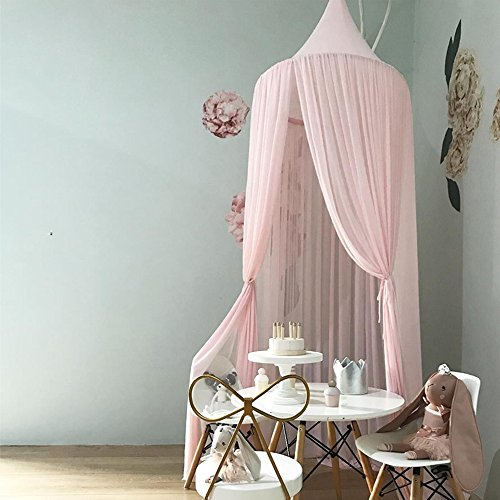 (ivivian Mosquito Net Canopy, Dome Princess Bed Canopy Bedcover Curtain Tent Children's Room Decorate for Baby Kids Indoor Outdoor Playing Reading 240cm (Pink))