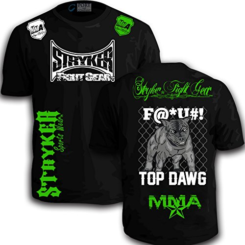 Stryker Shorts Sleeve T MMA UFC Pit Bull Dog BJJ Boxing with Free Tapout Sticker (6XL, Black/Green White Logos)