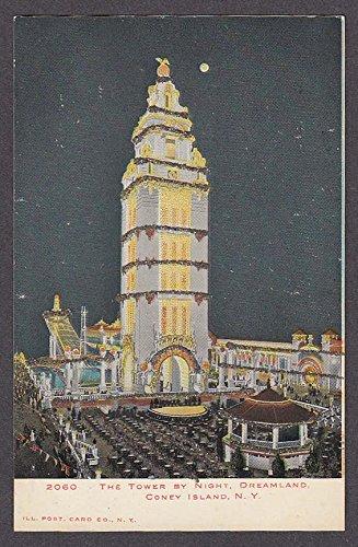 Dreamland Coney Island (Tower by Night Dreamland Coney Island NY glitter undivided back postcard 1900s)