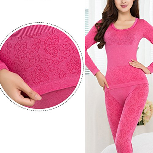 Zhhlinyuan Women's O-Neck Stretch Top & Bottom Thin Thermal Underwear Set Multi-color Watermelon Red