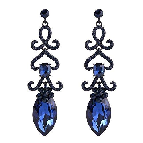 Blue Stone Chandelier - BriLove Women's Fashion Crystal Wedding Bridal Hollow Flower Love Heart Chandelier Dangle Earrings Sapphire Color Black-Silver-Tone