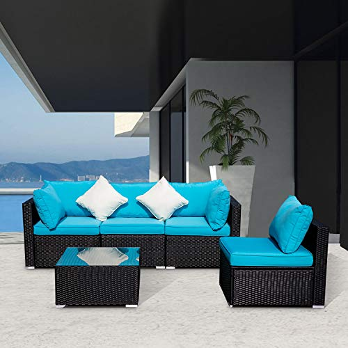 Wonlink 5 PCS Patio PE Rattan Wicker Sofa Sectional Furniture Set with Blue Cushion, 2 Pillows and Tea Table (Grill Sofa)