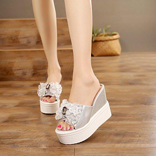 casual Diamond scarpe moda perline donna pantofole FLYRCX le Dolce antislittamento raffreddare da spiaggia silvery e estate diamantate SPwEEUqA1n