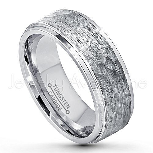 9mm Hammered Finish Tungsten Wedding Band, Stepped Edge Comfort Fit Tungsten Carbide Ring, Men's Tungsten Anniversary Ring - s10