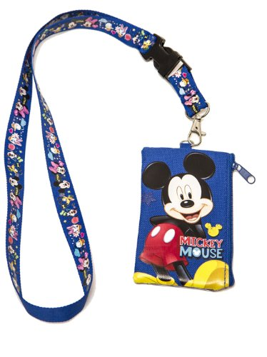 1 X Mickey Mouse KeyChain Lanyard Fastpass ID Ticket Holder Blue ()