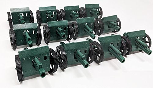 12 Pcs Army Green Cannons with Moving wheels (4 Inches)