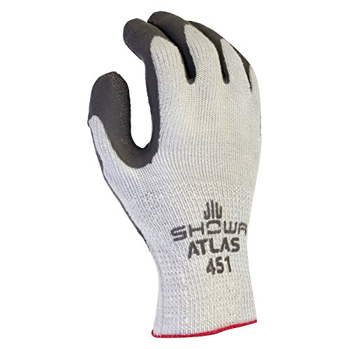 (SHOWA Atlas 451M-08 Palm Coating Natural Rubber Glove, 10-Gauge Insulated Seamless Knitted Liner, General Purpose Work, Medium (Pack of 12 Pairs))