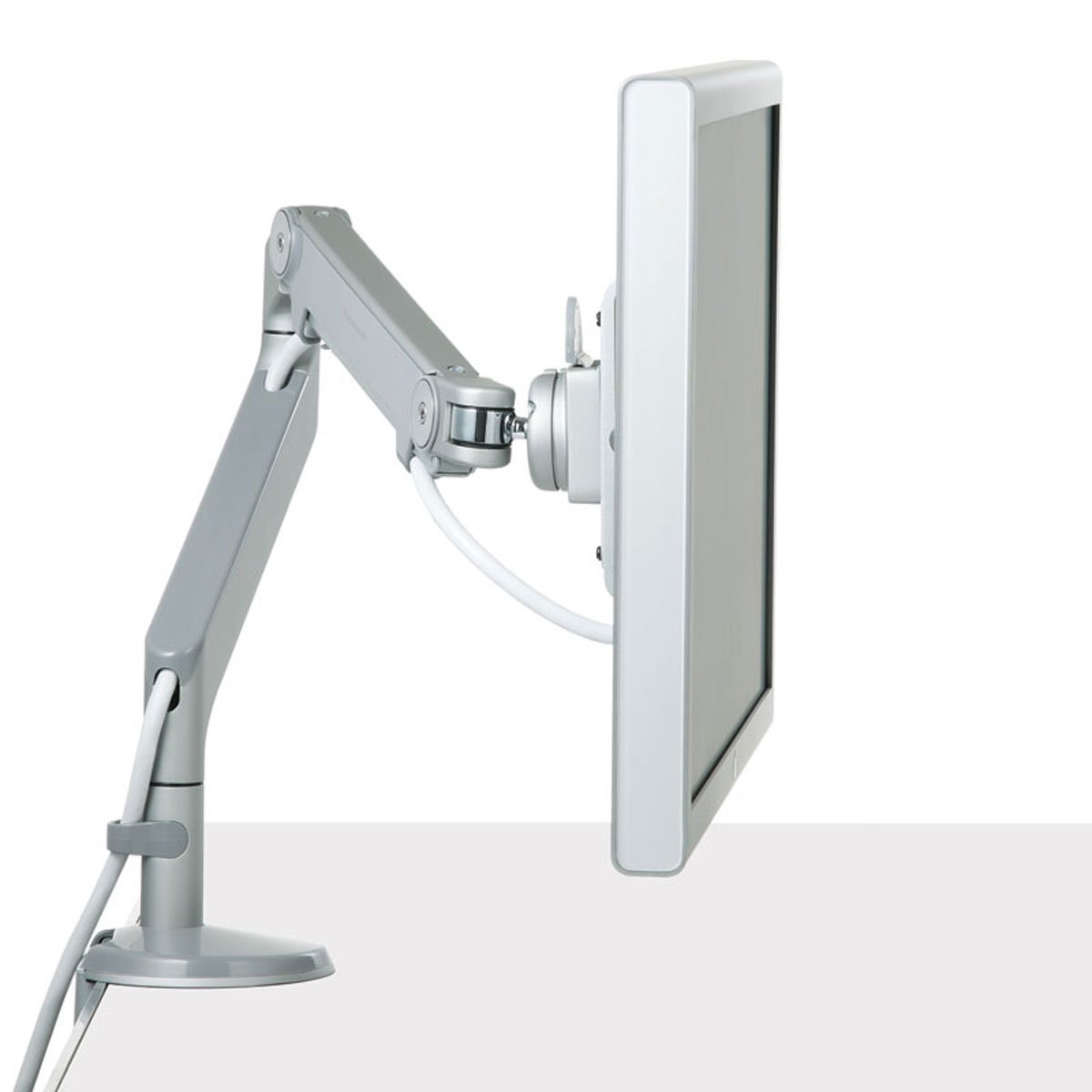 Humanscale M2 M2BS1S Adjustable Articulating Computer Monitor Arm - Bolt Through Mount with Base - Silver with Gray Trim