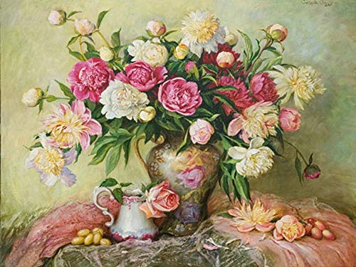 Flower 5D Diamond Painting Kits for Adults,Full Drill Diamond Art by Number Embroidery Cross Stitch Kits Canvas Painting Rhinestones Diamond Pictures Craft for Home Wall Living Room Décor
