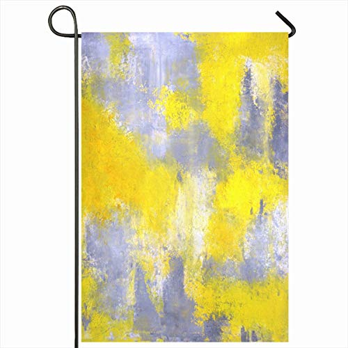- Ahawoso Garden Flag 12x18 Inches Contemporary Grey Yellow Abstract White Painting Office Modern Palette Knife Decorative Seasonal Double Sided Home House Outdoor Yard Sign
