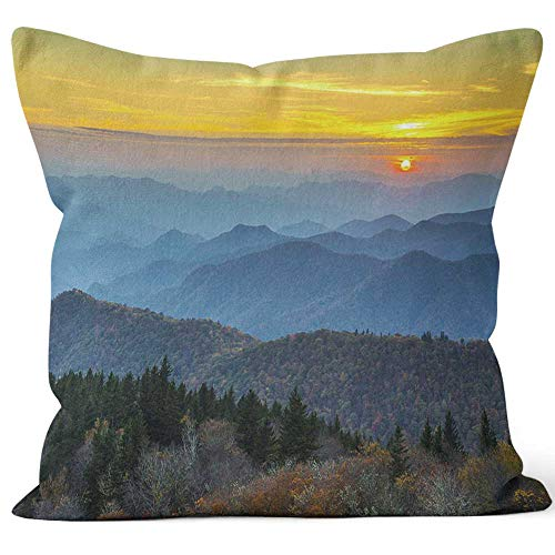 Nine City Blue Ridge Parkway Autumn Sunset Over Appalachian Mountains Layers Home Decorative Throw Pillow Cover,HD Printing Square Pillow case,40