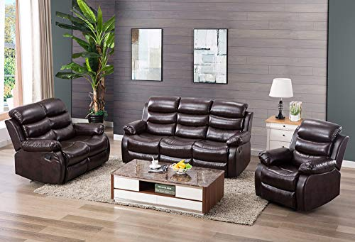 - Harper & Bright Designs Classic Bonded Leather Sectional Recliner Sofa (Recliner & Loveseat & 3-Seat Sofa Recliner)