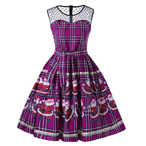 CUCUHAM Women Vintage Christmas Plaid Santa Claus Sheer Printed Lace Insert Swing Dress(Y1-Purple,XX-Large) -