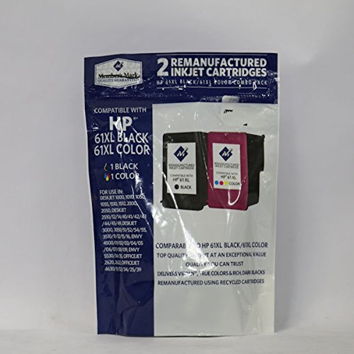 Member's Mark Remanufactured Ink Cartridge Replacement for HP 61XL ( Black,Cyan,Magenta,Yellow , 2-Pack )