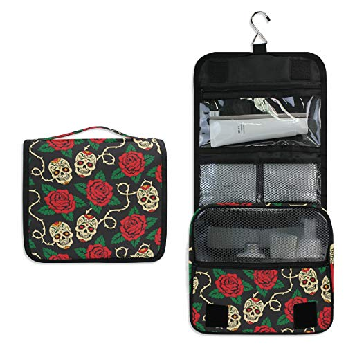 AUUXVA Hanging Toiletry Bag Day of the Dead Sugar Skull Rose Travel Cosmetics Bag Portable Toiletry Kit for Women Men]()