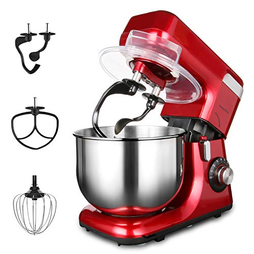 LASANTEC 550W Stand Mixer LST-55 8-Speed 5.5L Double Shaft Stepless Automatic Tilt-Head Electric Kitchen Food Machine with Dough Hooks, Flat Beater and Wire Whip(Coke Red)