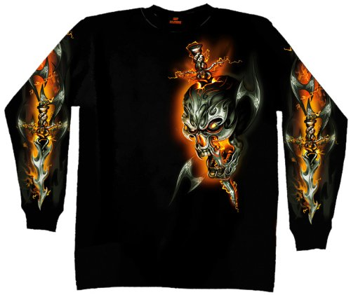 Hot Leathers Electric Skull Long Sleeve T-Shirt