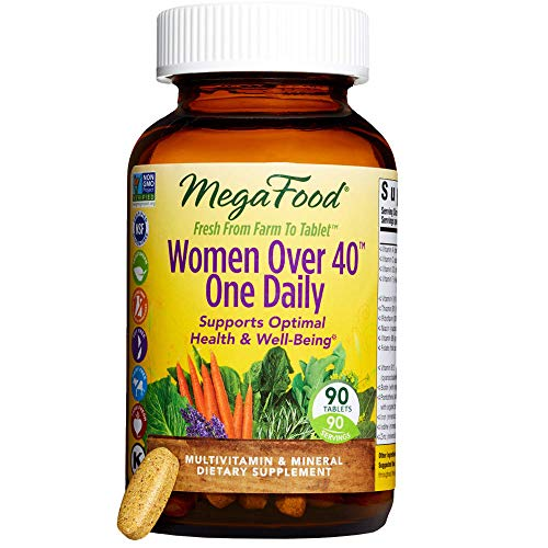 MegaFood - Women Over 40 One Daily, Multivitamin Support for Hair, Skin, Nails, Energy Production, and Hormone Balance with Iron and B Vitamins, Vegetarian, Gluten-Free, Non-GMO, 90 Tablets (FFP) by MegaFood (Image #1)