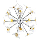 Electro_BP;SZBP1709 Art Noble Retro Vintage Metal Large LED Chandelier With Acrylic butterfly, 24 Lights, chrome Finish Review