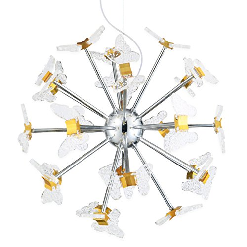 Electro_BPSZBP1709 Art Noble Retro Vintage Metal Large LED Chandelier With Acrylic butterfly 24 Lights chrome Finish
