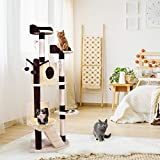 Tangkula Cat Tree Cat Climber Multi-Level Tower Indoor Pet Furniture Kitten Condo with Scratching Posts and Ladder Cat Activity Tree(63