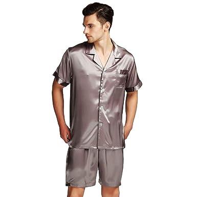 bc62aa4d19 Men s Short Sleeve Satin Pajamas Set at Amazon Men s Clothing store