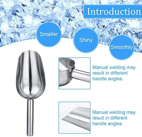 Stainless Steel Ice Scoop Metal Food Scoop Small Size for Popcorn Coffee Beans