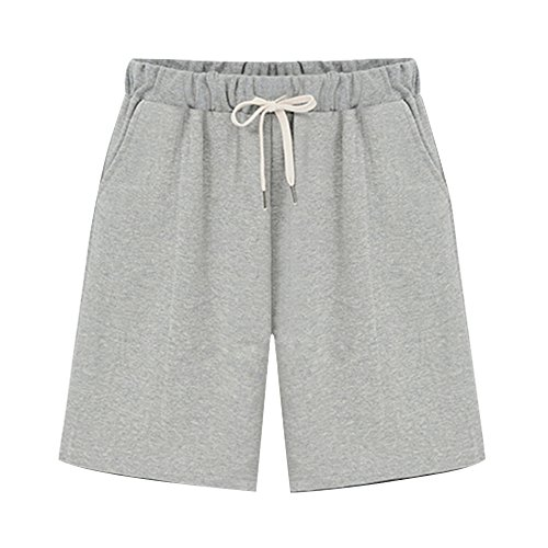 Spandex Terry Shorts (Sobrisah Women's Elastic Waist Soft Knit Jersey Bermuda Shorts With Drawstring Grey Tag 4XL-US 14)