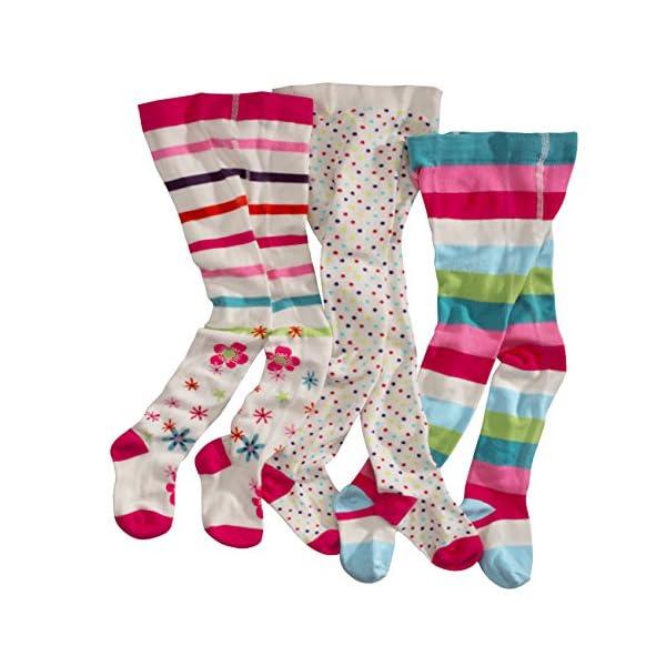 WELLYOU, collant per bambini per bambina, set di 3, calzamaglia ecru, cotone alta quota, taglia 62-146 1