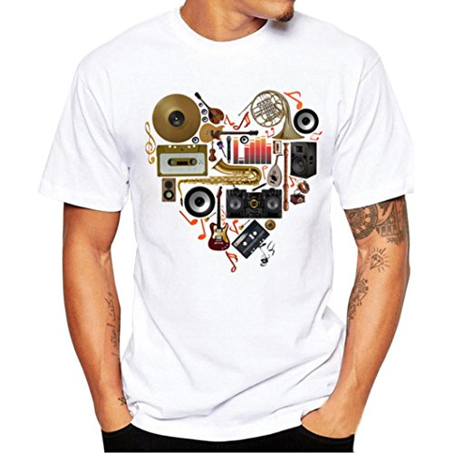 Realdo Men's Casual T-Shirt, Fashion Slack O-Neck Musical Instrument Print Short Sleeve Top Tee(White,Large) -