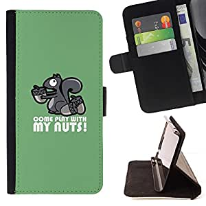 Momo Phone Case / Flip Funda de Cuero Case Cover - Ardilla Nuts jugar Se adelanta Cita divertida Humow - HTC One M7